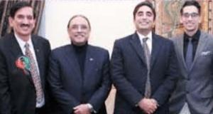 PPP USA president Shafquat Tanveer (far left) in a group photo with former President Asif Ali Zardari and Bilawal Bhutto Zardari.