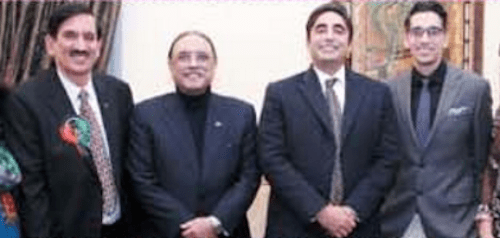 PPP USA president Shafquat Tanveer (far left) in a group photo with former President Asif Ali Zardari and Bilawal Bhutto Zardari.