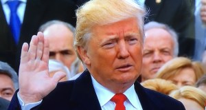 President Donald Trump at his inauguration in Washington DC on January 20. (Photo via video stream)