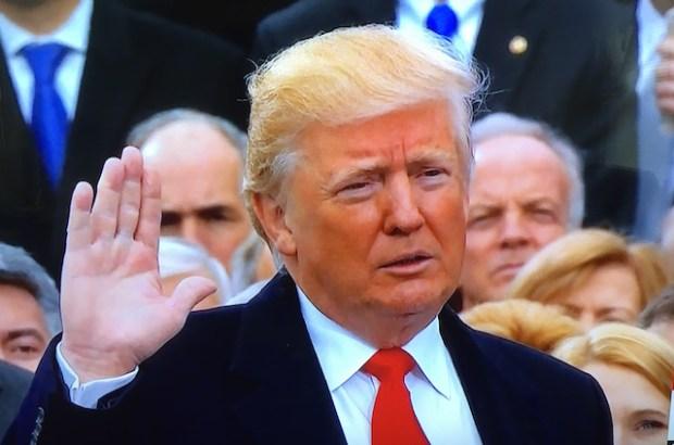 President Donald Trump at his inauguration in Washington DC on January 20. (Photo via video stream)