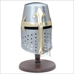 knight helmet mini tournament medieval stand display