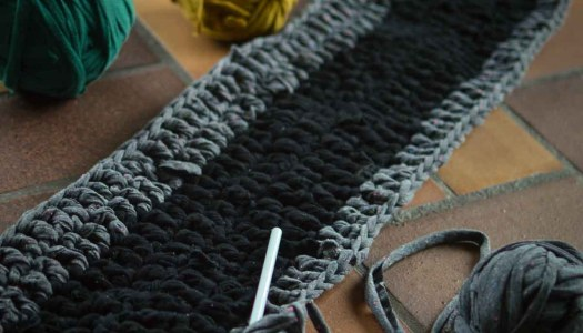 Crochet rag rug runner from old clothes