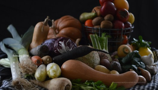 Seasonal winter vegetables and fruit wallpaper