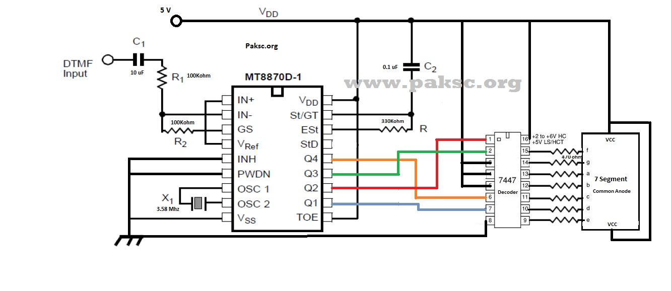 DTMF Based Project using M8870 IC