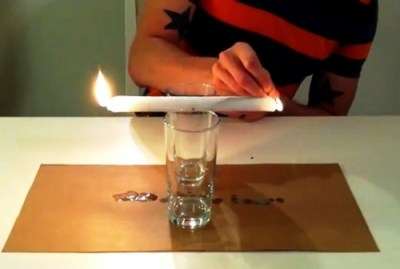 Experiment with burning candle at both ends