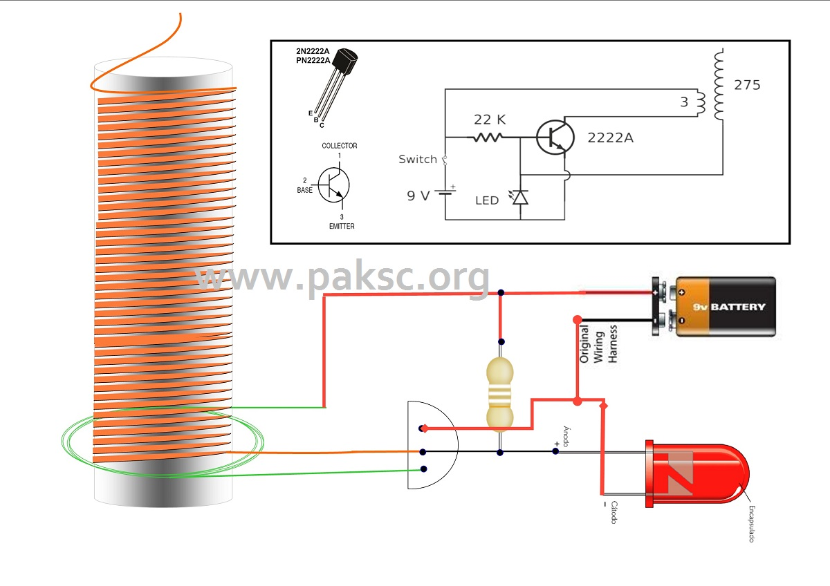 led wiring diagram 9v spongy bone how to make simple tesla coil video urdu