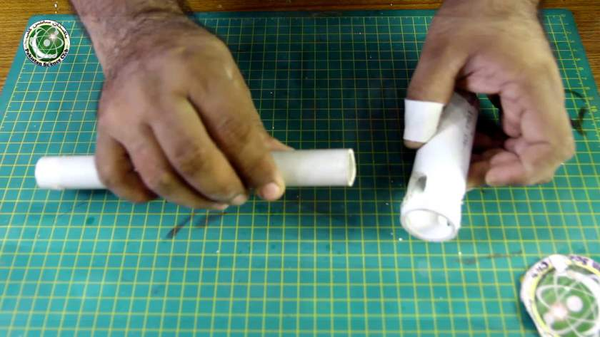 Make a hole in 4 inch pvc pipe to drill machine, hole size half diameter.