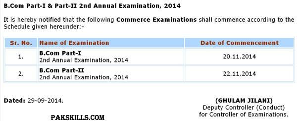 B.Com Part-I & II 2nd Annual Examination Schedule 2014