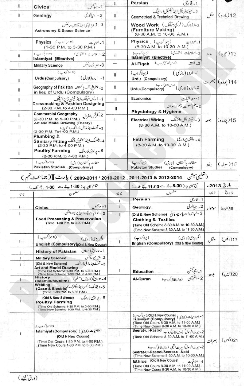 Matric Date Sheet 9th 10th BISE Lahore 2013