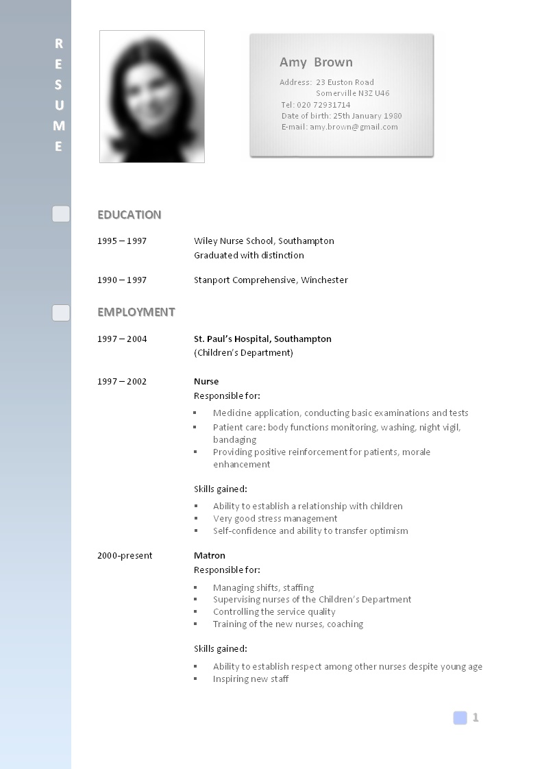 best resume format with photo
