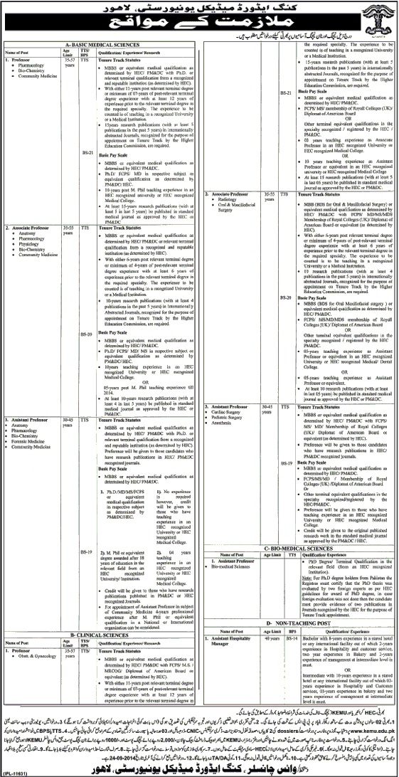 Vacancies Open At King Edward Medical University Lahore