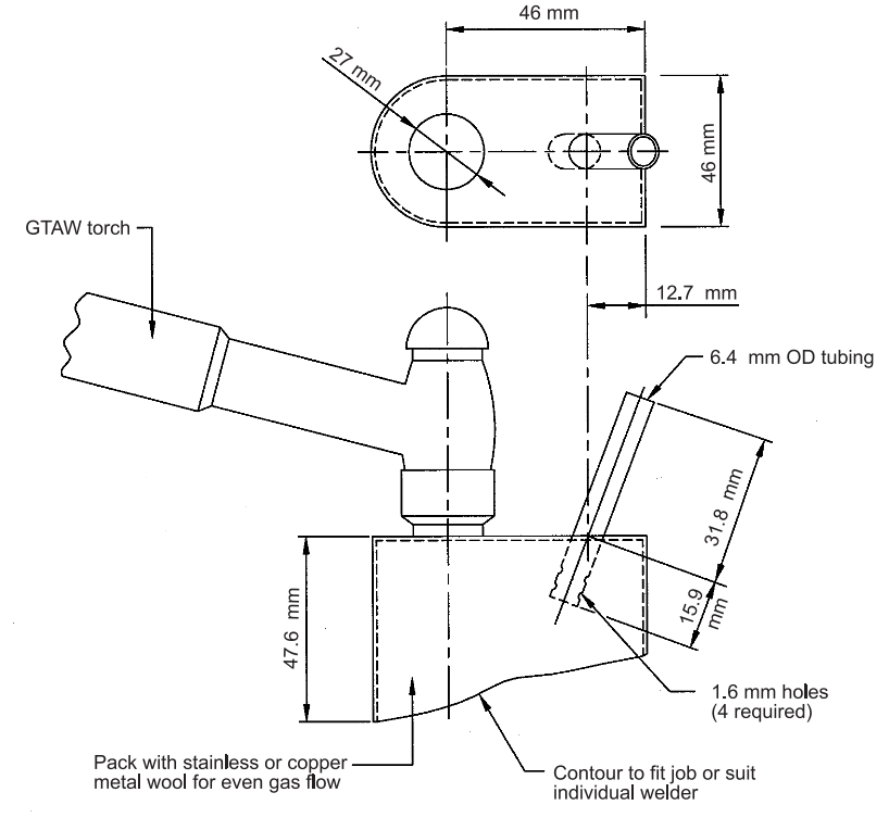 FIGURE 12 - Trailing Shield Controlled by Welder (Keep Dry)