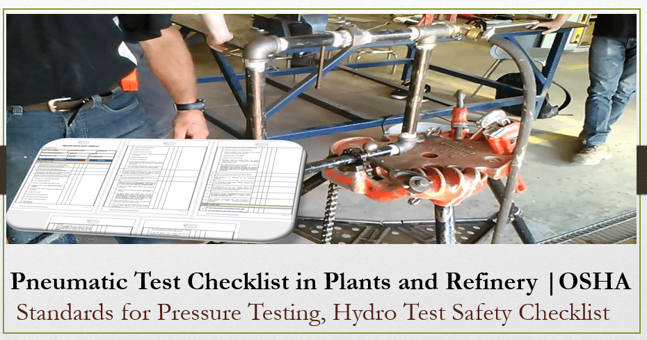 Pneumatic Test Checklist in Plants and Refinery Projects