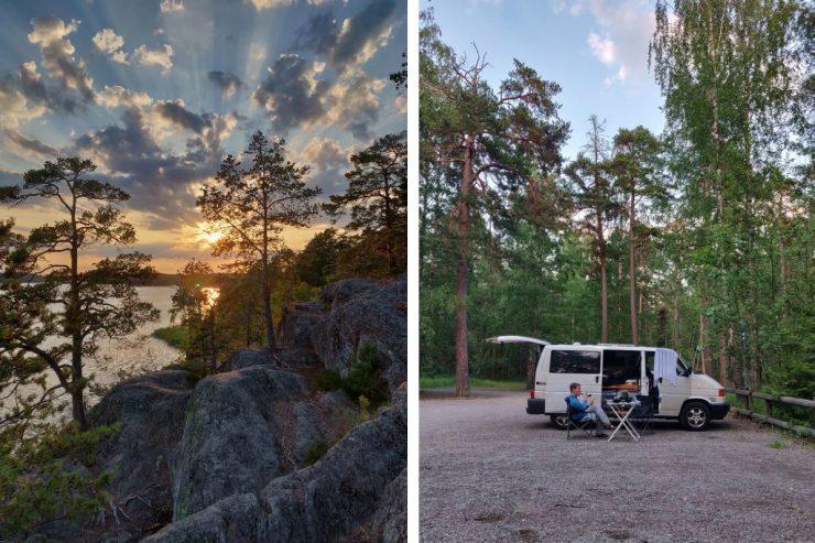 Yöpaikka, reissupaku ja auringon lasku 20 minuutin ajon päässä Tukholmasta