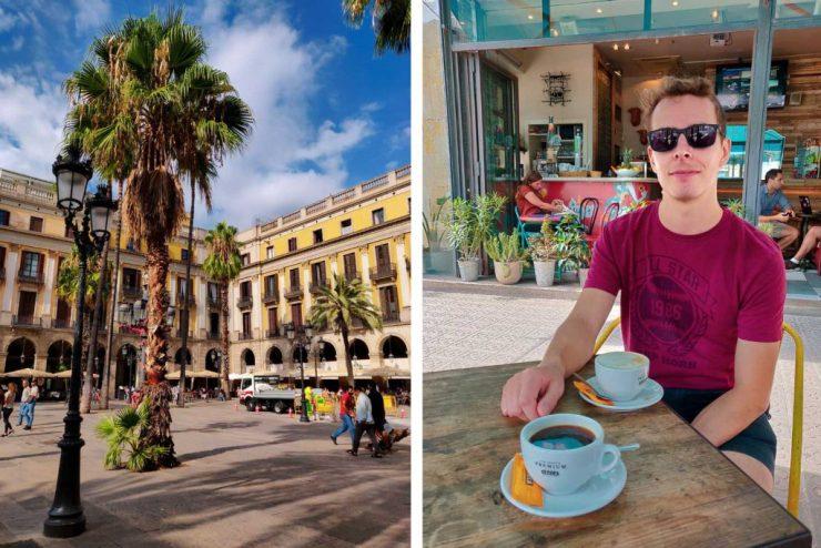 Placa Real ja Matti kahvilla Corner nimisessä kahvilassa