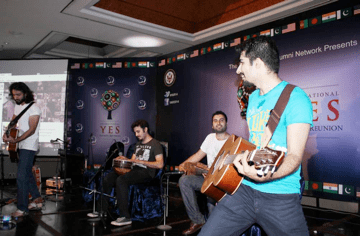 'Khumariyan' giving a rocking performance on second day of International YES Alumni Reunion 2014, June 27, 2014.