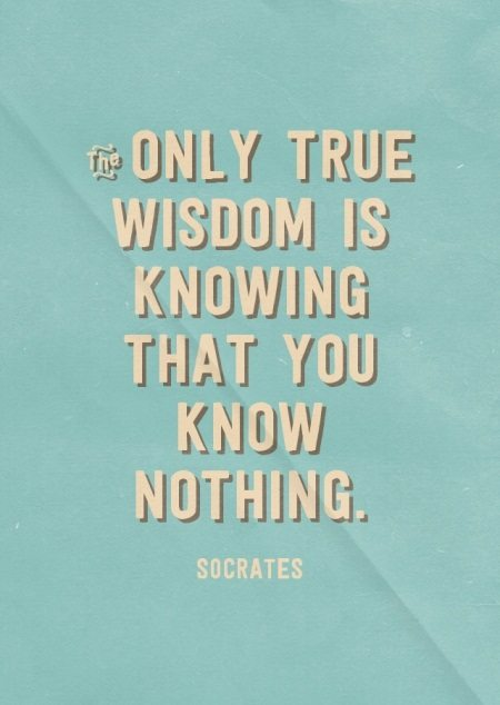 The only true wisdom is knowing that you know nothing. - Socrates