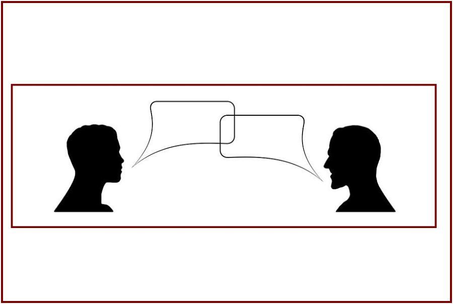 grafika przedstawiająca mężczyzn którzy ze sobą rozmawiają, z ich ust wychodzą dymki komiksowe