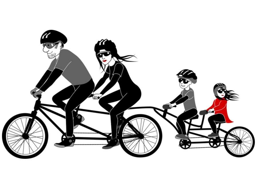 grafika z postaciami na rowerze