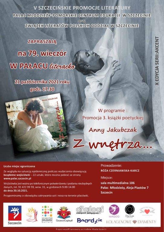 plakat zapraszający na79 wieczór literacki, okładka tomiku wierszy, kobieta wbieli
