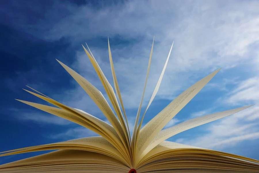 otwarta książka na tle nieba