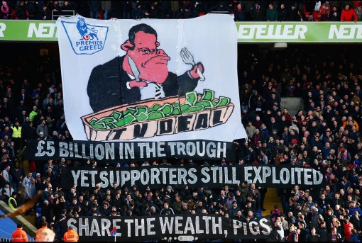 While not quite up to the standards of those plucky foreign stand banners, this DIY attempt by Crystal Palace fans gets the message across.