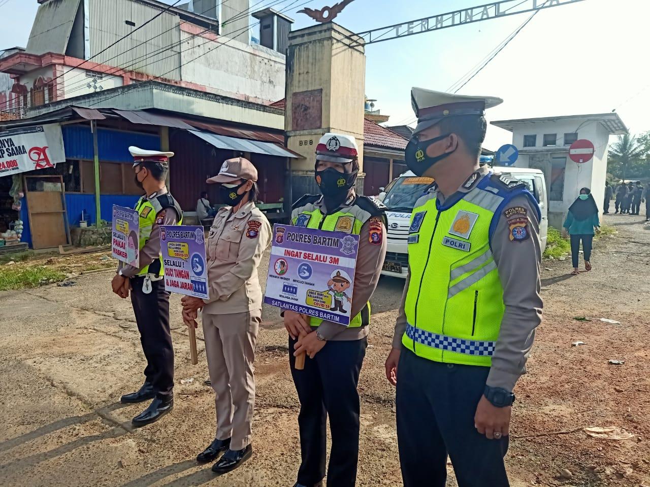 Satlantas Polres Bartim Gencar (Gatur) Kampanyekan Ayo Pake Masker