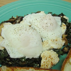 Poached Eggs with Sauteed Kale,Mushrooms and Chevre