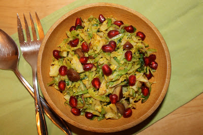 Shredded Brussels Sprouts with Chestnuts and Pomegranate