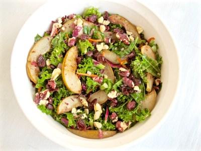 Roasted Pear, Walnut and Kale Salad