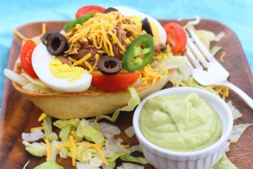 Taco Salad Boats with Avocado Dressing