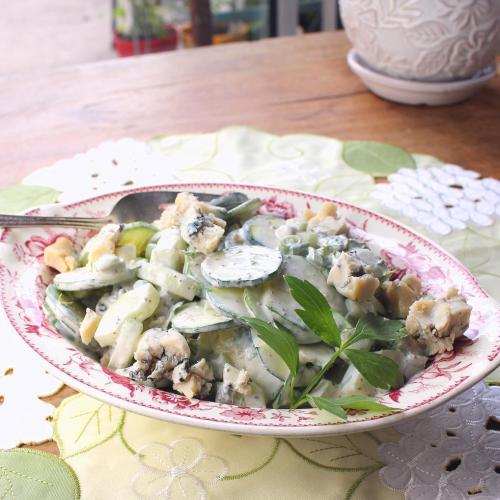 Cucumber Salad with Lovage and Gorgonzola
