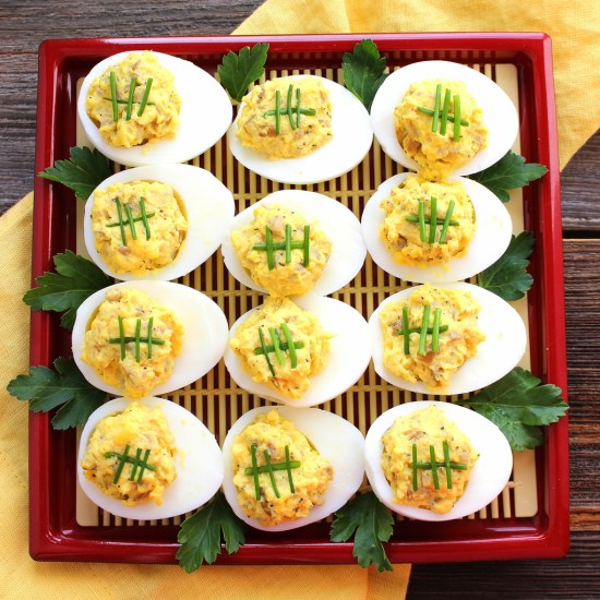 Bratwurst Deviled Eggs