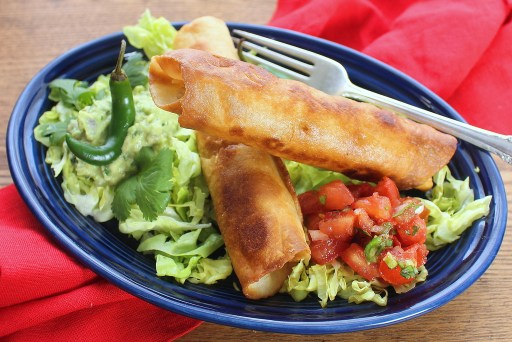 Chicken Flautas with Salsa Cruda and Simple Guacamole