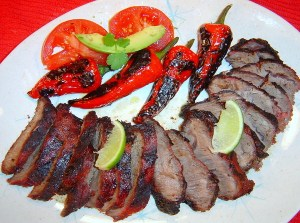Colombian Carne Asada with Mexican Chiles Toreados