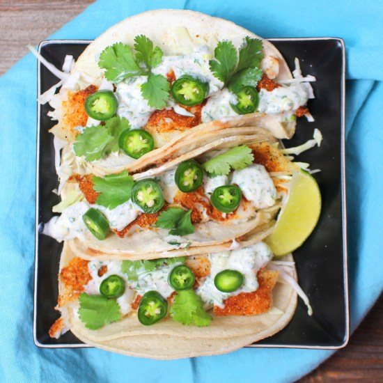 Healthy Fish Tacos with Cilantro-Lime Crema