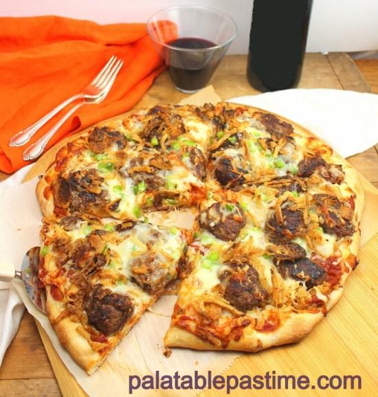 Sauerkraut and Meatball Pizza #SundaySupper