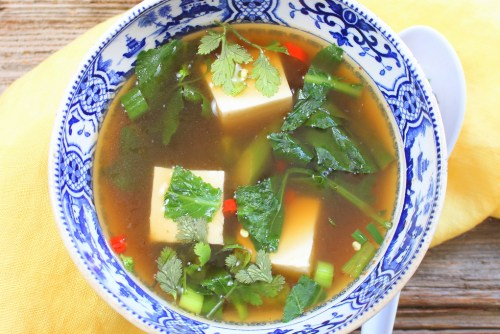 Spicy Gai Lan and Tofu Soup