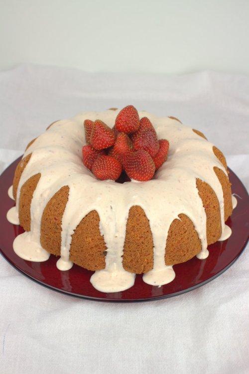 Strawberries and Cream Bundt Cake