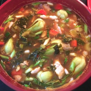Suan cai yu soup cooking (almost done!)