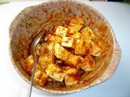 Yofu mixed with mala sauce