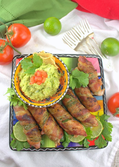 Bacon Jalapeno Palm Poppers with Hearts of Palm Guacamole Dip