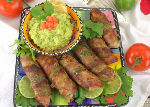 BaconJalapeno Palm Poppers with Hearts of Palm Guacamole Dip