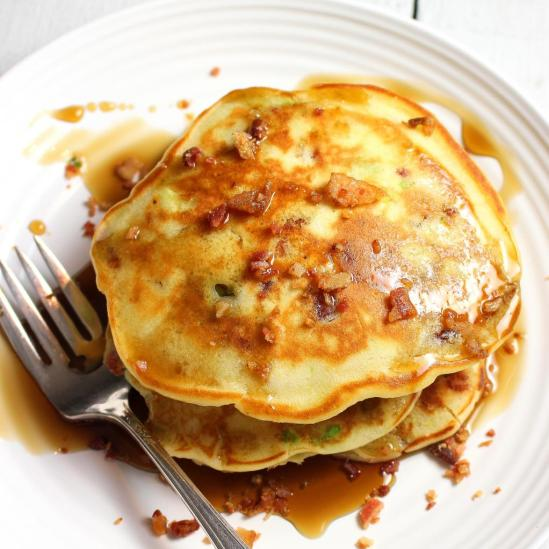 Bacon and Avocado Pancakes with Maple Syrup