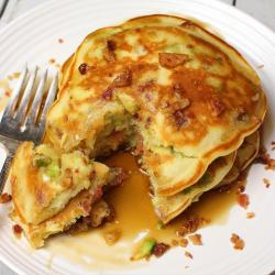 Bacon-Avocado Pancakes with Maple Syrup