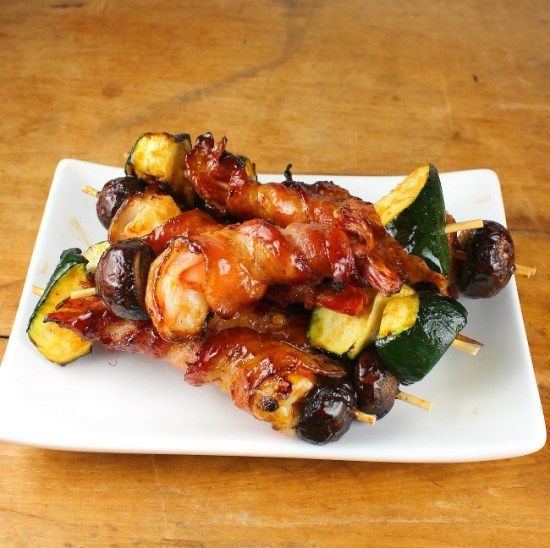 Bacon-Wrapped Shrimp Kebabs with Passion Fruit Glaze