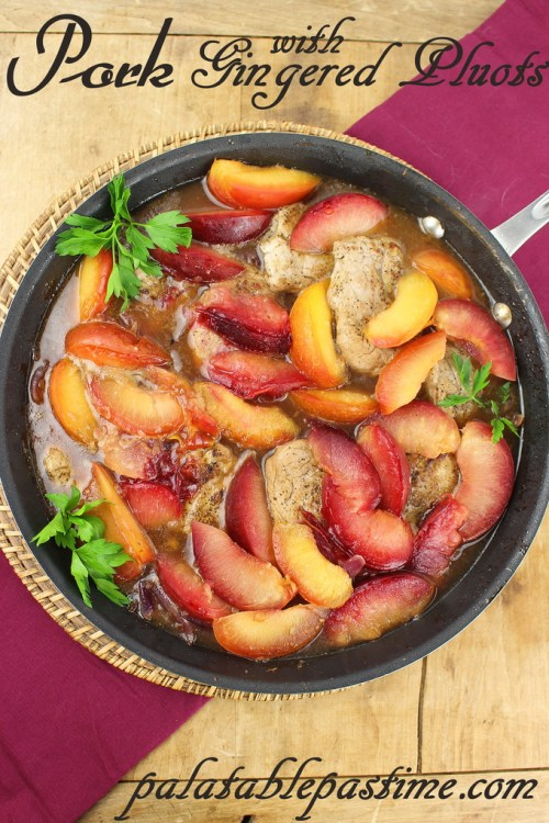 Pork with Gingered Pluots #SundaySupper
