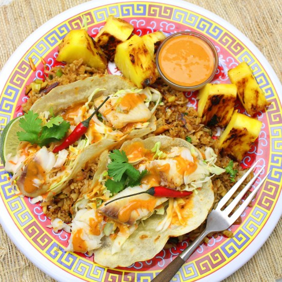 Thai Style Fish Tacos with Peanut Sauce, Grilled Pineapple and Coconut Fried Rice