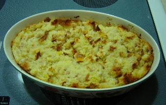 baked bread pudding in pan