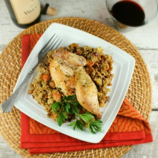 Roasted Cornish Hens with Persimmon Cornbread Dressing